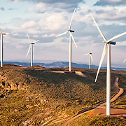 Wind turbine power generators above the town of Turrillas in Almeria province, Spain.<br />