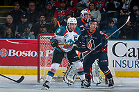 KELOWNA, CANADA - MARCH 31: Rodney Southam #17 of the Kelowna Rockets checks Luke Zazula #7 in front of the net of Connor Ingram #39 of the Kamloops Blazers on March 31, 2017 at Prospera Place in Kelowna, British Columbia, Canada.  (Photo by Marissa Baecker/Shoot the Breeze)  *** Local Caption ***