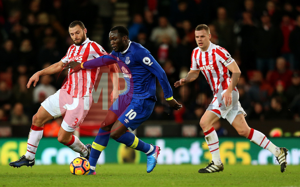 Romelu Lukaku of Everton is challenged by Erik Pieters of Stoke City - Mandatory by-line: Matt McNulty/JMP - 01/02/2017 - FOOTBALL - Bet365 Stadium - Stoke-on-Trent, England - Stoke City v Everton - Premier League