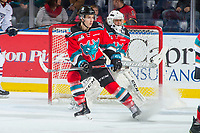 KELOWNA, CANADA - OCTOBER 27: Libor Zabransky #7 stops in front of the net of James Porter #1 of the Kelowna Rockets against the Tri-City Americans on October 27, 2017 at Prospera Place in Kelowna, British Columbia, Canada.  (Photo by Marissa Baecker/Shoot the Breeze)  *** Local Caption ***