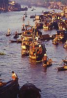 Floating market in the Mekong Delta, Vietnam