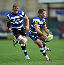 George Ford of Bath Rugby passes the ball - Photo mandatory by-line: Patrick Khachfe/JMP - Mobile: 07966 386802 13/09/2014 - SPORT - RUGBY UNION - Bath - The Recreation Ground - Bath Rugby v London Welsh - Aviva Premiership