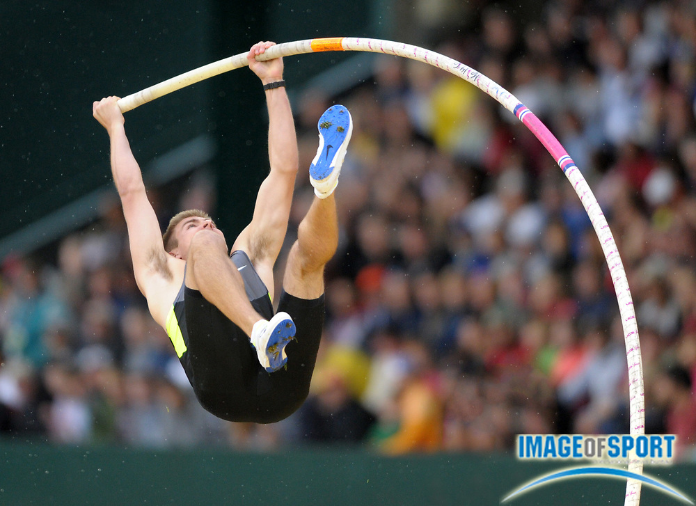 Jun 28, 2012; Eugene, OR, USA; Scott Roth places third in the pole vault at 18-4 1/2 (5.60m) during the 2012 U.S. Olympic Team Trials at Hayward Field.