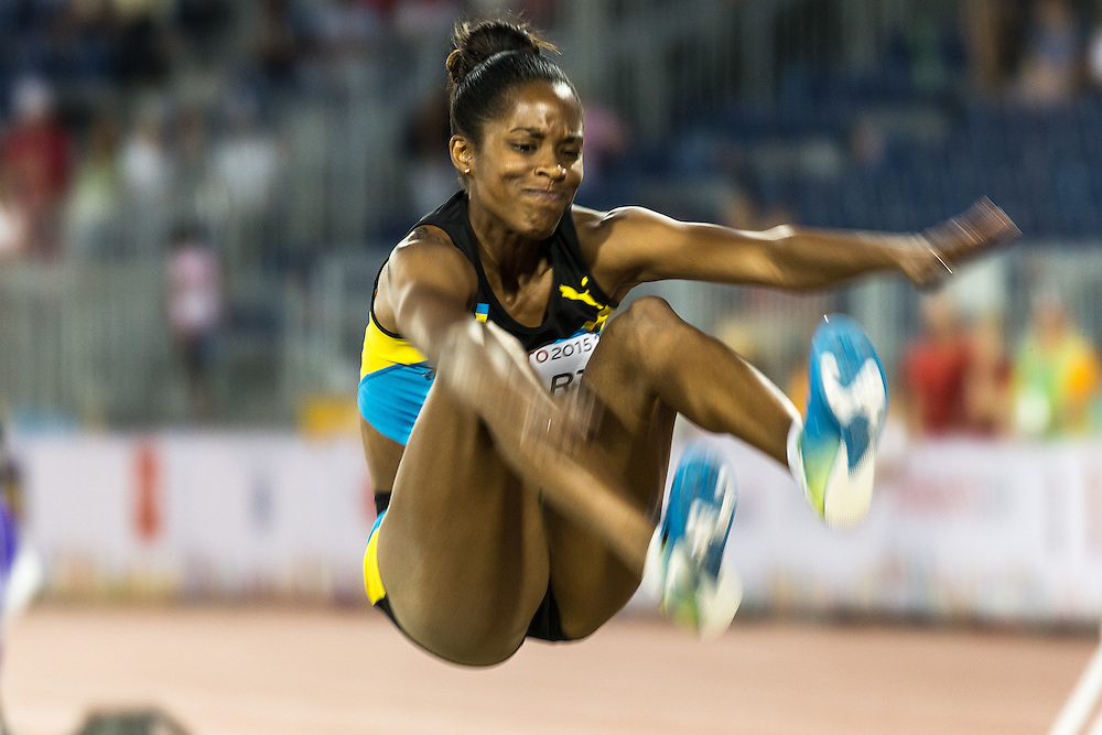 Bianca Stuart of the Bahamas competes in the women's long jump at the 2015 Pan American Games at CIBC Athletics Stadium in Toronto, Canada, July 24,  2015.  AFP PHOTO/GEOFF ROBINS