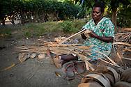 Ni Vanuatu woman weaving mats. Uleveo, Maskelyne Island, Malampa Province, Malekula, Vanuatu