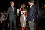 TOM GOODMAN-HILL; THANDIE NEWTON; ANTHONY CALF, party after the Press Night of 'Death And The Maiden'  ( which opened at the Harold Pinter Theatre.) Mint Leaf Restaurant & bar. Haymarket. London. 24 October 2011. <br /> <br />  , -DO NOT ARCHIVE-© Copyright Photograph by Dafydd Jones. 248 Clapham Rd. London SW9 0PZ. Tel 0207 820 0771. www.dafjones.com.