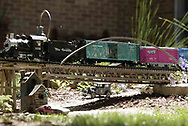A g-scale train moves across a bridge in the front yard of Jerry and Lynne Humston during the open garden tour for garden railroad clubs from Cincinnati, Columbus and Indianapolis, Sunday, July 15, 2007.  Trains also fill most of the backyard.