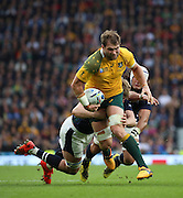 Australia's Ben McCalman charging through the Scottish defence during the Rugby World Cup Quarter Final match between Australia and Scotland at Twickenham, Richmond, United Kingdom on 18 October 2015. Photo by Matthew Redman.
