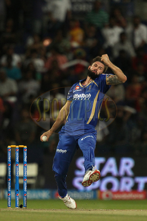 Kane Richardson of the Rajatshan Royals during match 19 of the Pepsi Indian Premier League 2014 Season between The Kolkata Knight Riders and the Rajasthan Royals held at the Sheikh Zayed Stadium, Abu Dhabi, United Arab Emirates on the 29th April 2014<br /> <br /> Photo by Ron Gaunt / IPL / SPORTZPICS