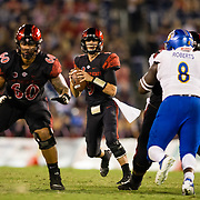 20 October 2018: San Diego State Aztecs quarterback Ryan Agnew (9) drops back to pass late in the second quarter. The Aztecs beat the Spartans 16-13 Saturday night at SDCCU Stadium.