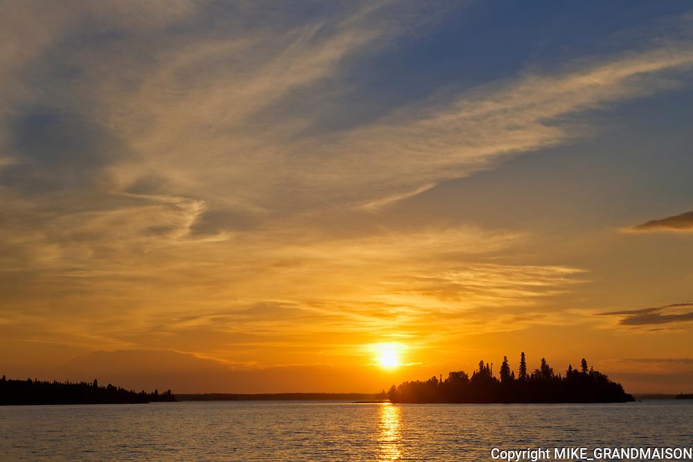 Island in Lac Seul (English River) at sunrise<br />Ear Falls<br />Ontario<br />Canada