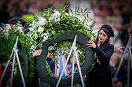 4-5-2017 AMSTERDAM - King Willem-Alexander, Queen Maxima and Prime Minister Rutte will attend the National Memorial at Dam in Amsterdam on Thursday 4 May. Wreath laying COPYRIGHT ROBIN UTRECHT<br /> <br /> 4-5-2017 AMSTERDAM - Koning Willem-Alexander,  Koningin Maxima en minister-president Rutte zijn donderdagavond 4 mei aanwezig bij de Nationale Herdenking op de Dam in Amsterdam. De Koning en Koningin zijn aanwezig tijdens de herdenkingsbijeenkomst in de Nieuwe Kerk in Amsterdam, waarin Annejet van der Zijl de 4 mei-voordracht uitspreekt. Aansluitend leggen zij een krans bij het Nationaal Monument op de Dam. De krans namens de Rijksministerraad wordt gelegd door de minister-president, minister Hennis-Plasschaert van Defensie, staatssecretaris Van Rijn van Volksgezondheid, Welzijn en Sport en de gevolmachtigd ministers Yrausquin, Eisden en Doram-York van respectievelijk Aruba, Curaçao en Sint Maarten. COPYRIGHT ROBIN UTRECHT