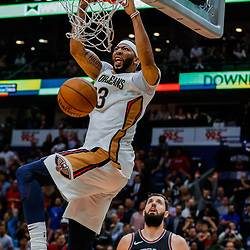 Jan 22, 2018; New Orleans, LA, USA; New Orleans Pelicans forward Anthony Davis (23) dunks against the Chicago Bulls during the fourth quarter at the Smoothie King Center. The Pelicans defeated the Bulls 132-128 in double overtime. Mandatory Credit: Derick E. Hingle-USA TODAY Sports