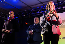 London, UK. 15th January, 2019. Anna Soubry, Conservative MP for Broxtowe, sharing the stage with Chuka Umunna, Labour MP for Streatham, and Ian Blackford, Leader of the SNP in the House of Commons, addresses pro-EU activists attending a People's Vote rally in Parliament Square as MPs vote in the House of Commons on Prime Minister Theresa May's proposed final Brexit withdrawal agreement.