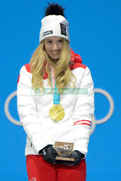 February 22, 2018 - Pyeongchang, South Korea - ANNA GASSER of Austria celebrates getting the gold medal from the Ladies' Ski Big Air snowboard event in the PyeongChang Olympic Games. (Credit Image: © Christopher Levy via ZUMA Wire)