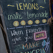"Blackboard humorous Outdoor Restaurant Sign ""When Lfe gives you  Lemons make Lemonade, When Friends give you wine make Sangria"""