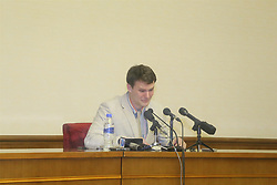 PYONGYANG, March 1, 2016 (Xinhua) -- Otto Frederick Warmbier, a 21-year-old undergraduate student of commerce from Virginia University of the U.S., speaks during a news conference in Pyongyang, capital of the Democratic People's Republic of Korea (DPRK), Feb. 29, 2016. Warmbier, held by the DPRK since January, told a press conference here Monday that he tried to take a political slogan from a hotel and was later arrested. He committed the crime with the connivance of the U.S. government and the task was given by the Friendship United Methodist Church, which promised him a good reward in return, he said. DPRK's state media KCNA reported on Jan. 22 that Warmbier had been arrested by the authorities because he entered the country under the guise of a tourist and aimed to undermine the foundation of the country's single-minded unity. (Xinhua/Lu Rui) (lyi) (Credit Image: © Lu Rui/Xinhua via ZUMA Wire)