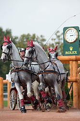 Zoltan Lazar, (HUN), Bibor, Favory Cudar, Maestoso x9, Siglavy Szello, Vigour - Driving Marathon - Alltech FEI World Equestrian Games™ 2014 - Normandy, France.<br /> © Hippo Foto Team - Jon Stroud<br /> 06/09/2014
