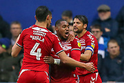GOAL 0-1 Middlesbrough forward Britt Assombalonga (9) scores and celebrates during the EFL Sky Bet Championship match between Queens Park Rangers and Middlesbrough at the Kiyan Prince Foundation Stadium, London, England on 9 November 2019.