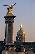 France. Paris Pont Alexandre-III bridge , the invalides and gold statue, on Seine River