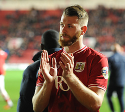 Nathan Baker of Bristol City acknowledges supporters after the Sky Bet Championship game against QPR - Mandatory by-line: Paul Knight/JMP - Mobile: 07966 386802 - 19/12/2015 -  FOOTBALL - Ashton Gate Stadium - Bristol, England -  Bristol City v Queens Park Rangers - Sky Bet Championship