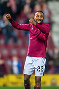 Loic Damour (#22) of Heart of Midlothian FC celebrates at the end of the the Betfred Scottish Football League Cup quarter final match between Heart of Midlothian FC and Aberdeen FC at Tynecastle Stadium, Edinburgh, Scotland on 25 September 2019.