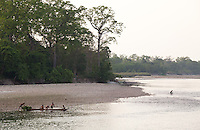 People in a boat on a river, Bardia National Park, Nepal
