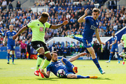 Leicester City defender Christian Fuchs and Leicester City defender Ben Chilwell defend from AFC Bournemouth midfielder Jordon Ibe during the Premier League match between Leicester City and Bournemouth at the King Power Stadium, Leicester, England on 21 May 2017. Photo by Richard Holmes.
