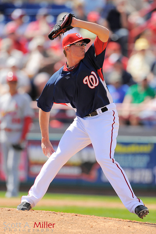 March 14, 2010; Viera, FL, USA; Washington Nationals pitcher Tyler Clippard (36) during the Nationals game against the St. Louis Cardinals at Space Coast Stadium. ©2010 Scott A. Miller