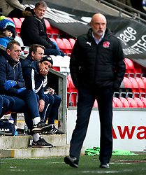 A dejected Bristol Rovers manager Darrell Clarke behind Fleetwood Town manager Uwe Rosler - Mandatory by-line: Matt McNulty/JMP - 14/01/2017 - FOOTBALL - Highbury Stadium - Fleetwood, England - Fleetwood Town v Bristol Rovers - Sky Bet League One