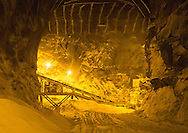 Conveyor crushing equipment inside the mine at Pattison Sand Company in Garnavillo, Iowa on June 5, 2013.