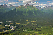 View of the Chugach Mountains and the Mt. Alyeska Resort in Girdwood, Alaska.