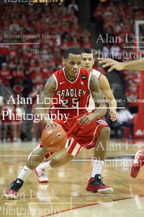 13 February 2013: Walt Lemon Jr. during an NCAA Missouri Valley Conference mens basketball game where the Bradley Braves were defeated by Illinois State Redbirds 79-59 in Redbird Arena, Normal IL