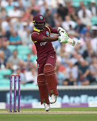 West IndiesÕ Jason Mohammed hits out during the Fourth Royal London One Day International at the Kia Oval, London.