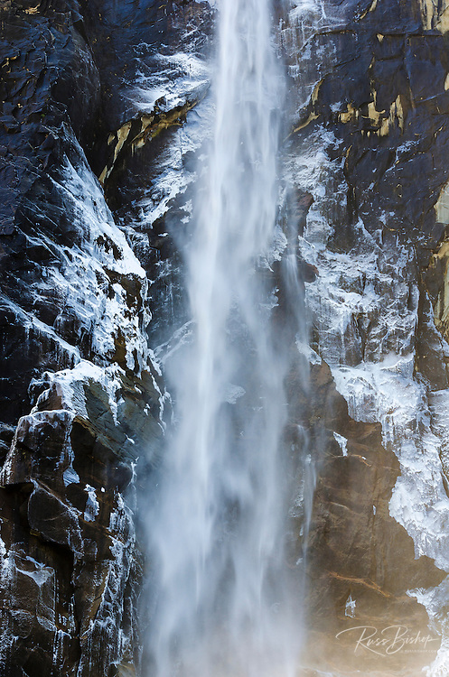 Ice-covered Bridalveil Falls in winter, Yosemite National Park, California USA