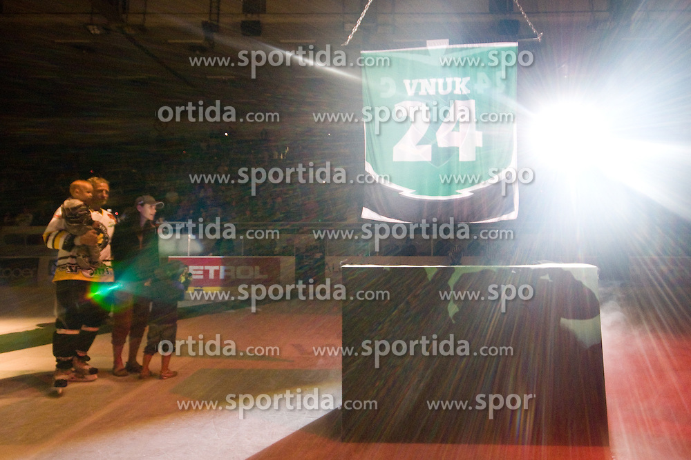 Tomaz Vnuk with his familiy watching his jersey going to the top of the hall as his number 24 is retired in Tomaz Vnuk's exhibition game between team HDD Tilia Olimpija and team 24 Ever on August 28, in Ljubljana, Slovenia. (Photo by Matic Klansek Velej / Sportida)