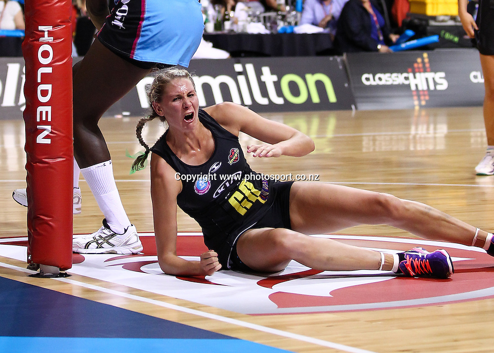 Waikato BOP Magic captain Casey Kopua reacts in pain after a fall during the ANZ Netball Championship - Waikato BOP Magic v Southern Steel at Claudelands Arena, Hamilton on Monday 17 March 2014. Photo: Bruce Lim / www.photosport.co.nz