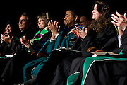 """Dr. McDavis applauds and reflects on Geoff Buckley's essay, """"Into the Woods"""" during the Founders Day Convocation on Friday, February 15, 2008 in the Baker Ballroom in Athens, Ohio. photo by Kevin Riddellphoto by Kevin Riddell"""
