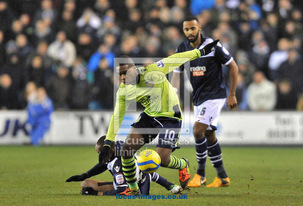 Picture by Alan Stanford/Focus Images Ltd +44 7915 056117.25/01/2013.Charles N'Zogbia of Aston Villa comes away with the ball during the The FA Cup match at The Den, London.