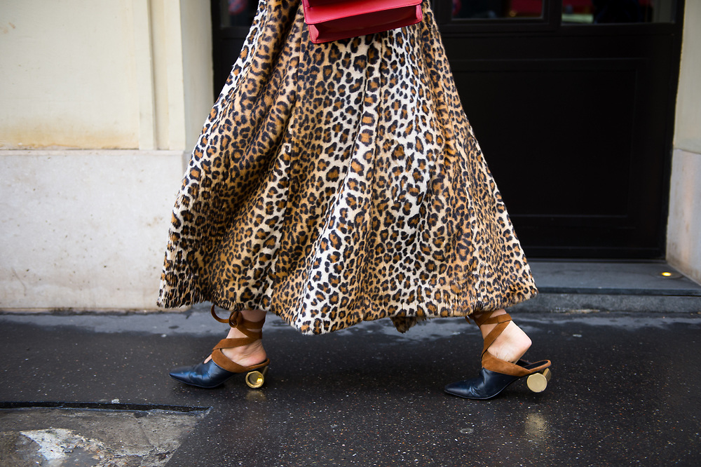 Leopard Coat and JW Anderson shoes at Valentino FW2017