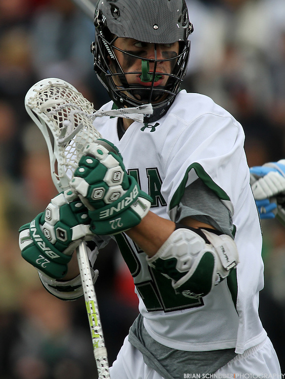April 28, 2012; Baltimore, MD, USA; Loyola Greyhounds midfielder Phil Dobson (22) makes a run against the Johns Hopkins Blue Jays at  Ridley Athletic Complex in Baltimore, MD. Mandatory Credit: Brian Schneider-www.ebrianschneider.com