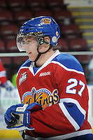 KELOWNA, CANADA, FEBRUARY 15: Curtis Lazar #27 of the Edmonton Oil Kings skates on the ice during warm up at the Kelowna Rockets on February 15, 2012 at Prospera Place in Kelowna, British Columbia, Canada (Photo by Marissa Baecker/Shoot the Breeze) *** Local Caption ***