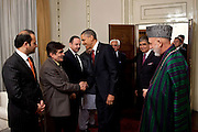 01.MAY.2012. KABUL<br /> <br /> PRESIDENT BARACK OBAMA GREETS MEMBERS OF THE AFGHAN DELEGATION AS PRESIDENT HAMID KARZAI WATCHES AT THE PRESIDENTIAL PALACE IN KABUL, AFGHANISTAN, MAY 1, 2012.  <br /> <br /> BYLINE: EDBIMAGEARCHIVE.CO.UK<br /> <br /> *THIS IMAGE IS STRICTLY FOR UK NEWSPAPERS AND MAGAZINES ONLY*<br /> *FOR WORLD WIDE SALES AND WEB USE PLEASE CONTACT EDBIMAGEARCHIVE - 0208 954 5968*