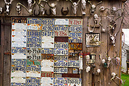 FLOYD, VA, Deer skulls and license plates decorate the front of Anderson and Barbara Vance's shed in Floyd, Virginia.