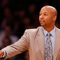 06 October 2013: Denver Nuggets head coach Brian Shaw is seen during the Denver Nuggets 97-88 victory over the Los Angeles Lakers at the Staples Center, Los Angeles, California, USA.