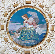 Librarian's Room. Dome showing stuccoed relief of a ring of Grecian girls by Weinert with the central disc displaying the mural Letters by Holslag. Library of Congress Thomas Jefferson Building, Washington, D.C