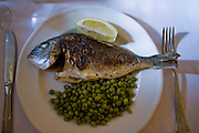 A dish of fish and peas at a restaurant in Pals, Costa Brava, Spain. Pals is a medieval town in Catalonia a few kilometres from the sea in the heart of the Bay of Emporda on the Costa Brava.