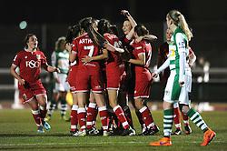 Rosella Ayane of Bristol City Women celebrates her second goal with team mates - Mandatory by-line: Dougie Allward/JMP - Mobile: 07966 386802 - 23/03/2016 - FOOTBALL - Stoke Gifford Stadium - Bristol, England - Bristol City Women v Yeovil Town Ladies - FA Women's Super League 2
