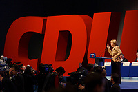 11 NOV 2002, HANNOVER/GERMANY:<br /> Angela Merkel, CDU Bundesvorsitzende, waehrend ihrer Rede, CDU Bundesparteitag, Hannover Messe<br /> IMAGE: 20021111-01-051<br /> KEYWORDS: Parteitag, party congress, speech, Logo, sign