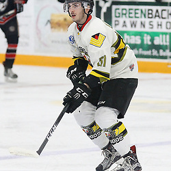 """TRENTON, ON  - MAY 5,  2017: Canadian Junior Hockey League, Central Canadian Jr. """"A"""" Championship. The Dudley Hewitt Cup Game 7 between Georgetown Raiders and the Powassan Voodoos.    Dylan DAgostino #81 of the Powassan Voodoos skates during the first period<br /> (Photo by Alex D'Addese / OJHL Images)"""